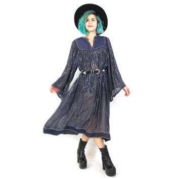70s Gypsy Queen Angel Sleeve Dress Indian Cotton Sheer Blue Ethnic Hippie Festival Boho Silver Metallic Gauze Quilted Peasant Kaftan (M/L)