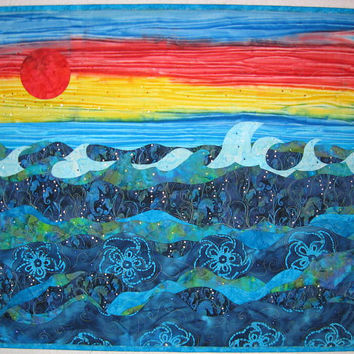 Quilt Art Quilted Wall Hanging - Ocean Sunset Sea Horses Art