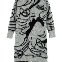 White Beauty Jacquard Mohair Knitted Cardigan
