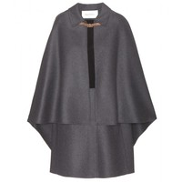 valentino - wool and suede cape dress