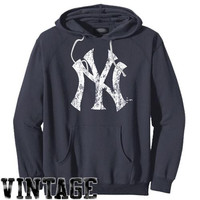 Majestic Threads New York Yankees Cooperstown Collection Tri-Blend Pullover Hoodie - Navy Blue