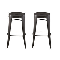 Michael Anthony Furniture Round Backless Barstool - Antique Brown 2Pk 2