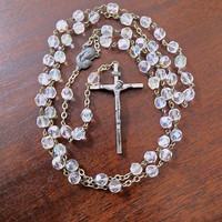 Vintage Rosary Beads Crystal Made in Italy