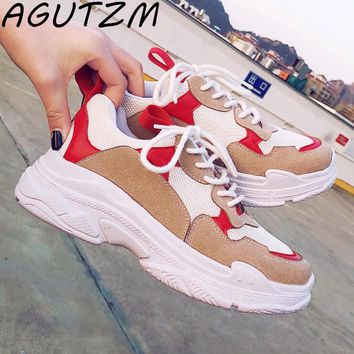 AGUTZM 2018 Fashion Sneakers Women Casual Shoes Ulzzang  Shoes Suede Ladies Casual Shoes Large Size Flat Chaussures Femme