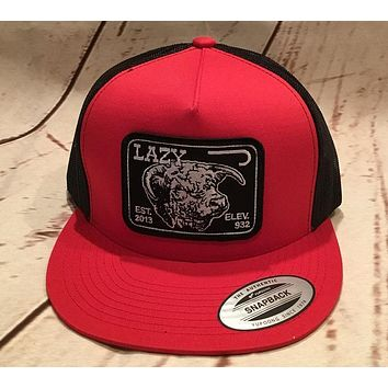 Lazy J Red and Black Elevation Hereford Patch Cap   Mesh Trucker