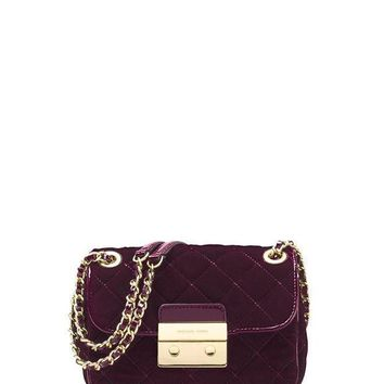 MICHAEL Michael Kors Sloan Small Quilted Velvet Shoulder Bag - Plum