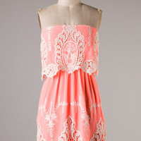 Baroque Lace Dress - Light Neon Pink - Hazel & Olive