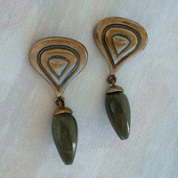 Egyptian Style Dangle Post Earrings Green Bead Drop Antiqued Vintage Jewelry