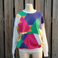 Vintage 1980s 1990s Women's Sweater - Geometric Color Block Sweater by Pringle of Scotland - SZ M