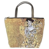 Gustav Klimt Portrait of Adele Bloch-Bauer Handmade Bucket Bag Handbag Leather F