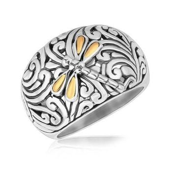 18K Yellow Gold and Sterling Silver Dragonfly Accented Domed Style Ring, size 6