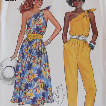 Vintage One Shoulder Sun Dress and Jump Suit UNCUT Sewing Patterns - Size 12, 14, 16 Butterick - Summer, Spring, Travel, Vacation, Resort