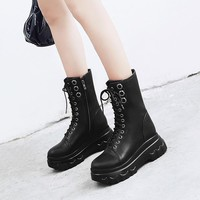 YMECHIC 2018 Autumn Winter Ladies Punk Creepers Rock Gothic Shoes Ankle Lace Up Flat Platform Military Combat Boots for Women