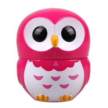 Owl Cartoon Kitchen Timers 60 Minutes Cooking Mechanical Home Decorating Blue Dial Timers High Quality Kitchen Tools Gadget