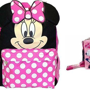 "Disney Minnie Mouse 3D Ears 12"" Toddler Backpack With Coin Purse Lanyard Set"