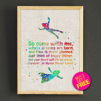 Peter Pan Never Grow Up Watercolor Art Print Disney Poster House Wear Wall Decor Gift Linen Print - Disney - Buy 2 Get 1 FREE - 101s2g
