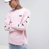 HUF x Pink Panther Long Sleeve T-Shirt With Sleeve Print at asos.com