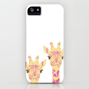 pinky giraffe sisters iPhone Case by Ela Caglar