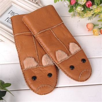 2017 Winter warm Gloves kids Gloves sheepskin fur Thicken mittens Children Leather Gloves