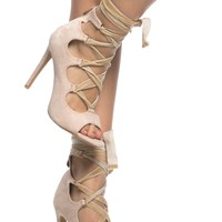 Nude Faux Suede Lace Up Open Toe Heels @ Cicihot Heel Shoes online store sales:Stiletto Heel Shoes,High Heel Pumps,Womens High Heel Shoes,Prom Shoes,Summer Shoes,Spring Shoes,Spool Heel,Womens Dress Shoes