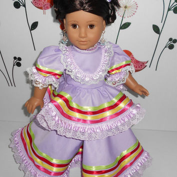 "Mexican folklorico Jalisco dress for American Girl and similar 18"" dolls handmade in USA at De Colores Doll Fashion"
