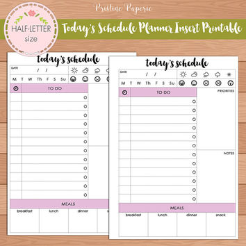 HALF-LETTER Today's Schedule Planner Insert Printable | Fits Kikki K Large & Filofax A5 Instant Download
