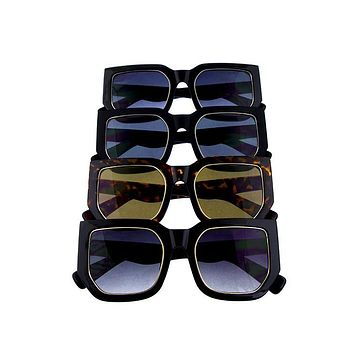 Ladies indie dapper square metal detail sunglasses