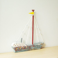 Wooden Greek sailboat, colourful sailboat of wood, metal, twine, etc, completely handmade and unique each time