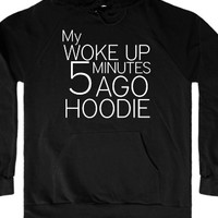 Woke Up Late-Unisex Black Hoodie