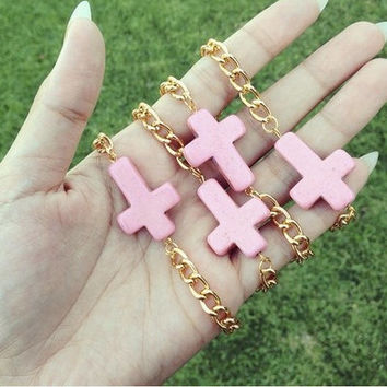 Pink Cross Chain Bracelet, Making Strides Against Breast Cancer