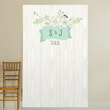 Personalized Photo Booth Backdrop - Kate's Rustic Wedding Collection - Woodgrain