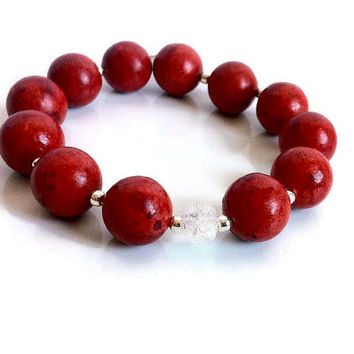 Red Coral Handmade Beaded Bracelet Boho Chic Bright Red White Bracelet Crackle Glass Coral Bead Stretch Bracelet Made in Canada Valentines