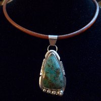 Authentic navajo Native American Southwestern sterling silver chrysocolla pendant/necklace.