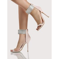 Diamond Ankle Strap Heels NUDE