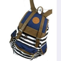 Rbenxia Unisex Canvas Backpack School Bag Super Cute Stripe School College Laptop Bag for Teens Girls Boys Students - Blue Stripe