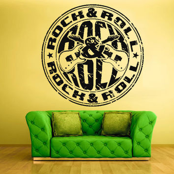 Wall Vinyl Sticker Decals Decor Art Bedroom Design Mural Design Rock n Roll Emblem Logo Guitar (z420)