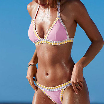 Pink Handmade Hand Knitted Triangle Crochet Bikini Suit Bikini Bra Set Swimsuit
