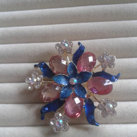 blue and pink  crystal flower rhinestone goldtone  brooch  pin