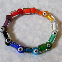 Rainbow Multicolor Evil Eye and Furnace Cane Bead Stretch Bracelet
