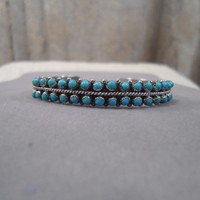 Silver and Turquoise Vintage Cuff bracelet egl ooak rococo southwest hippie children boho sundance style jewelry rustic goth gothic lolita
