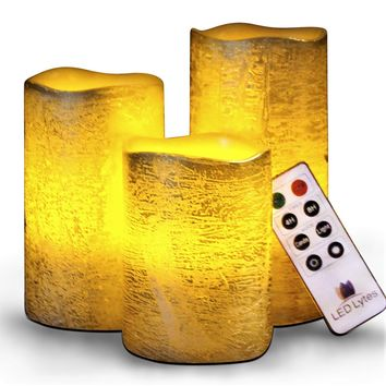 Textured Gold Set With Amber Yellow Flame Flameless Wax Candles Remote and Timer