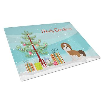 Imperial Shih Tzu Christmas Tree Glass Cutting Board Large CK3459LCB