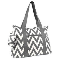Large Roomy Canvas Tote Purse Beach Travel Bag w/ Attached Coin Purse (Chevron - Grey)