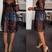 sheer floral embroidered dress