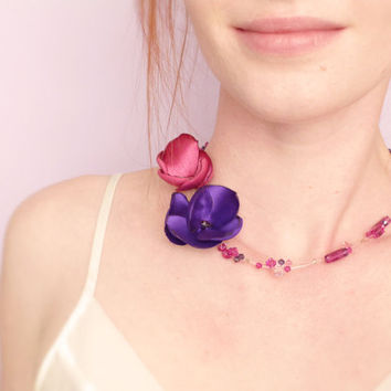 Purple and fuchsia flower choker with Swarovski