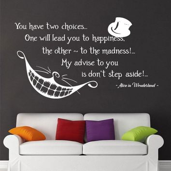 Alice in Wonderland Quote Wall Vinyl Decals Cheshire Cat Bedroom Nursery Modern Home Decor Murals F752