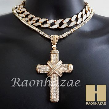 "Hip Hop Iced Out Gold Cross Pendant 16"" Iced Out Choker 18"" Tennis Chain 10"