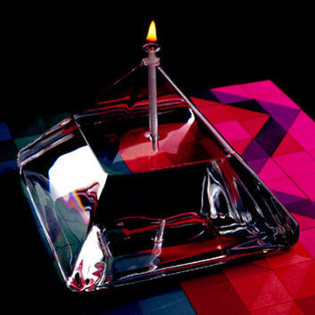 Firelight Glass Pyramid Set Oil Lamps / Candles  Pyramid 4 Inch and 5 Inch Set with Accessories