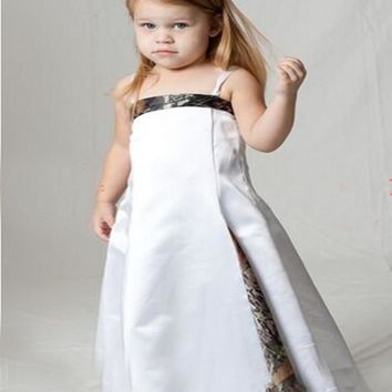 2016 New Styles Strap Cute Camo Flower Girl Dresses Pageant Ball Gowns Long Camouflage.