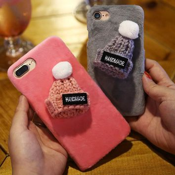 Fashion  Case For iPhone 6 6S 7 Plus Cute Warm Girl Hard Protective Phone Case For iPhone 5 5S SE 6 6S 7 Plus